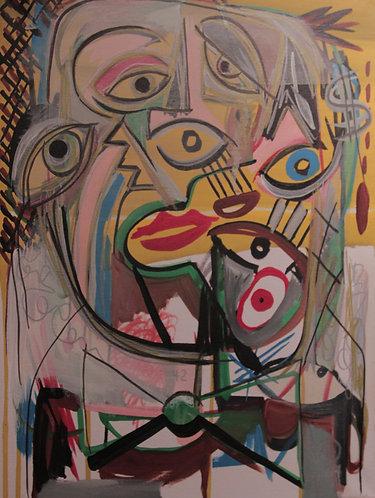 """""""Overwhelmed"""" 12"""" x 16"""" acrylics on canvas - 2014"""