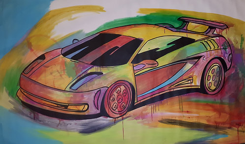 """""""sports car"""" 62""""x38"""" acrylics on unstretched canvas"""