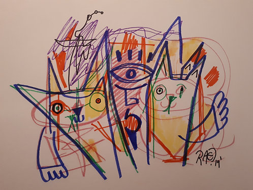 """Cats 11""""x14"""" markers on paper 2020"""
