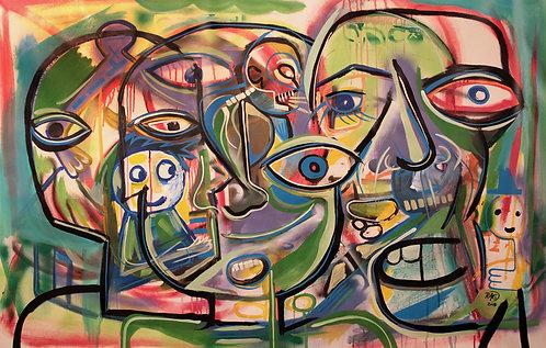 """Tangled"" 40"" x 60"" acrylics on canvas - 2018"