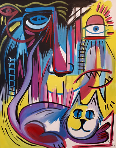 Cats World 16x20 acrylics on canvas 2020