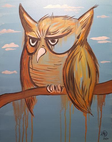 Owl 16x20 acrylics on canvas 2020