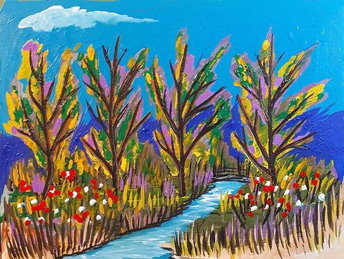 """Fall River"" 12"" x 16"" acrylics on canvas - 2019"