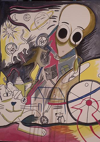 Alien visit 18x24 acrylics on canvas 2020