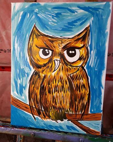 """""""owl of a mood"""" 12"""" x 16"""" acrylics on canvas - 2018"""