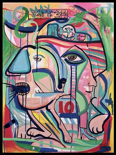 """""""Alien Mind"""" 18""""x24"""" acrylics on canvas-2016"""