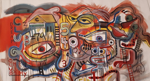 """""""club 54"""" 52""""x28"""" acrylics on unstretched canvas"""