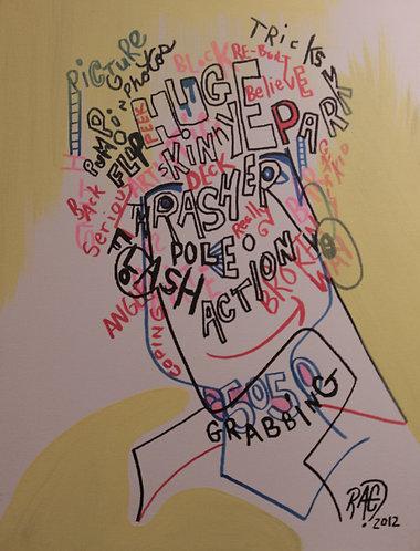 """""""Thrashin"""" 12"""" x 16"""" acrylics on canvas - 2012"""