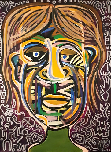 dude 12x16 acrylics, silver marker on canvas 2021
