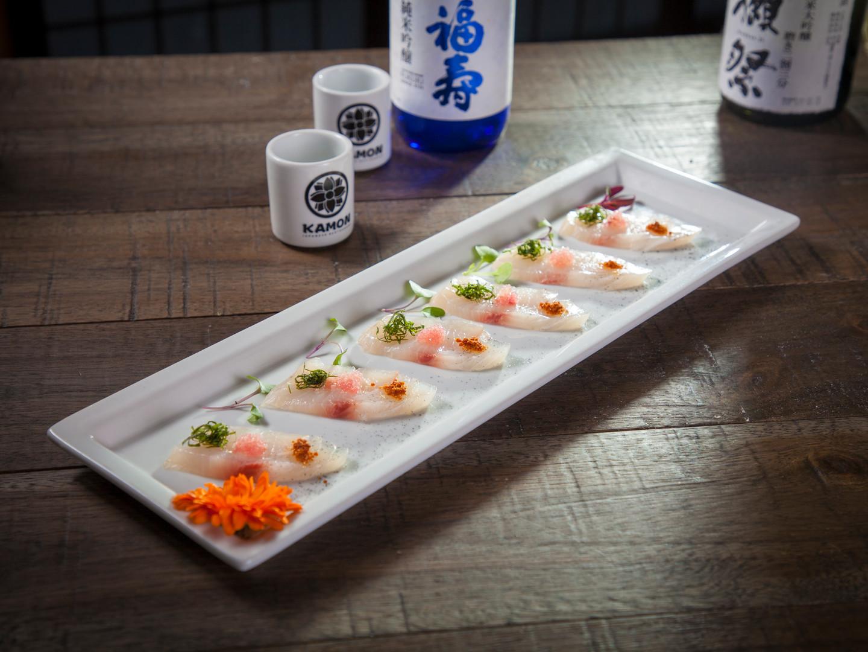 kanpachi with lime caviar