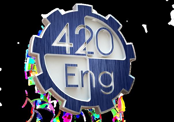 (2) 420 Logo - Brushed Blue Metal - 3D.p