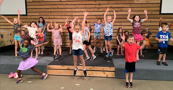 Kids rehearsing at Summer Camp 2019