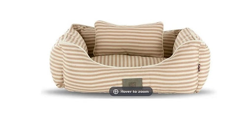 Sydney & Co Beige Stripe Dog Bed