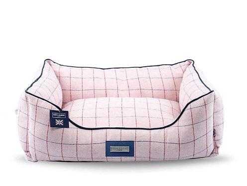 Hugo & Hudson Pink Checked Tweed Dog Bed