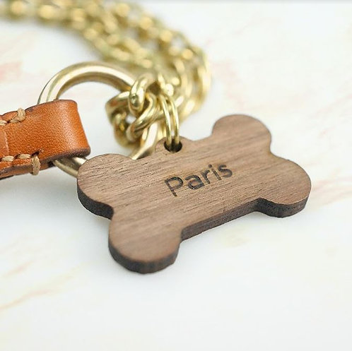 Natural Wood ID Dog Tag - Bone