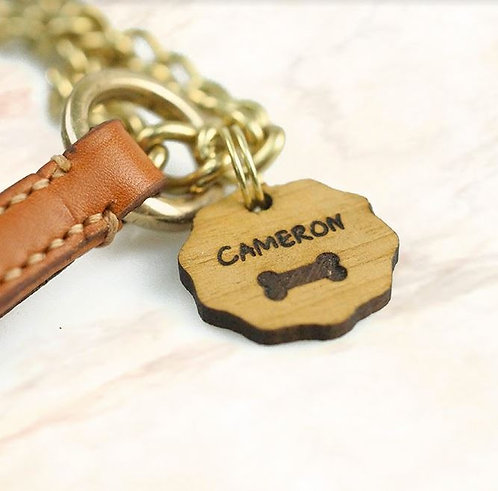 Natural Wood ID Dog Tag - Be Water