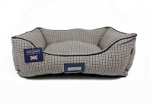 Hugo & Hudson Navy Brown Tweed Dog Bed