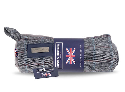 Hugo & Hudson Grey Checked Tweed Dog Blanket