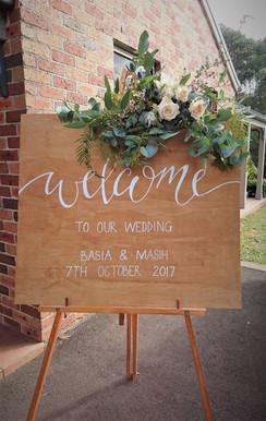 Wedding Ceremony Welcome Sign Florals