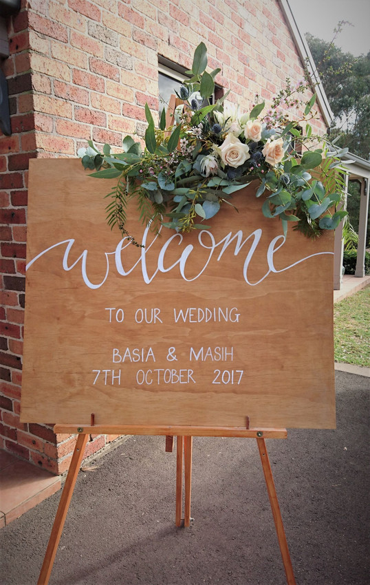 Wedding Ceremony Welcome Sign Florals