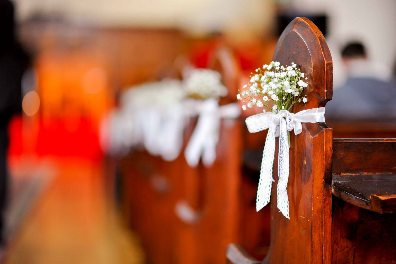 Wedding Ceremony Church Pew Flowers