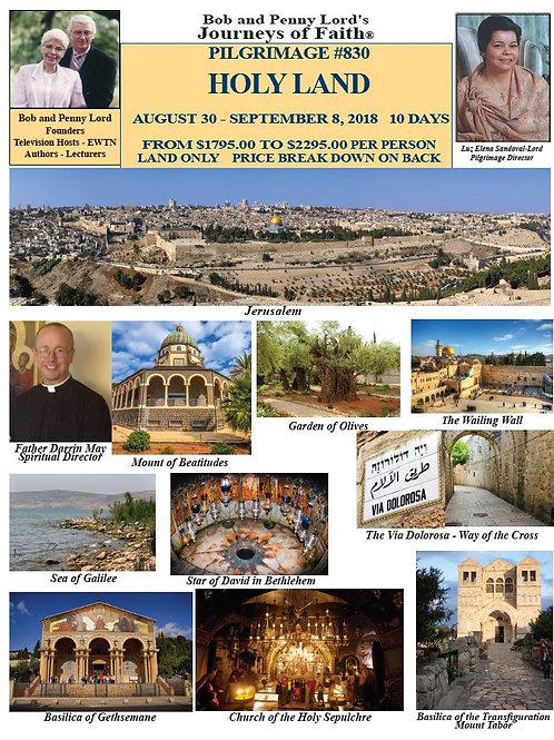 Holy Land Pilgrimage Deposit of Faith Fully Refundable Holy Land Pilgrimage