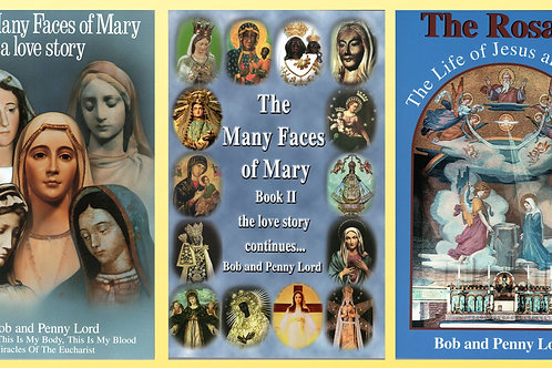 Many Faces of Mary Books 1 and 2 and The Rosary, The LIfe of Jesus and Mary