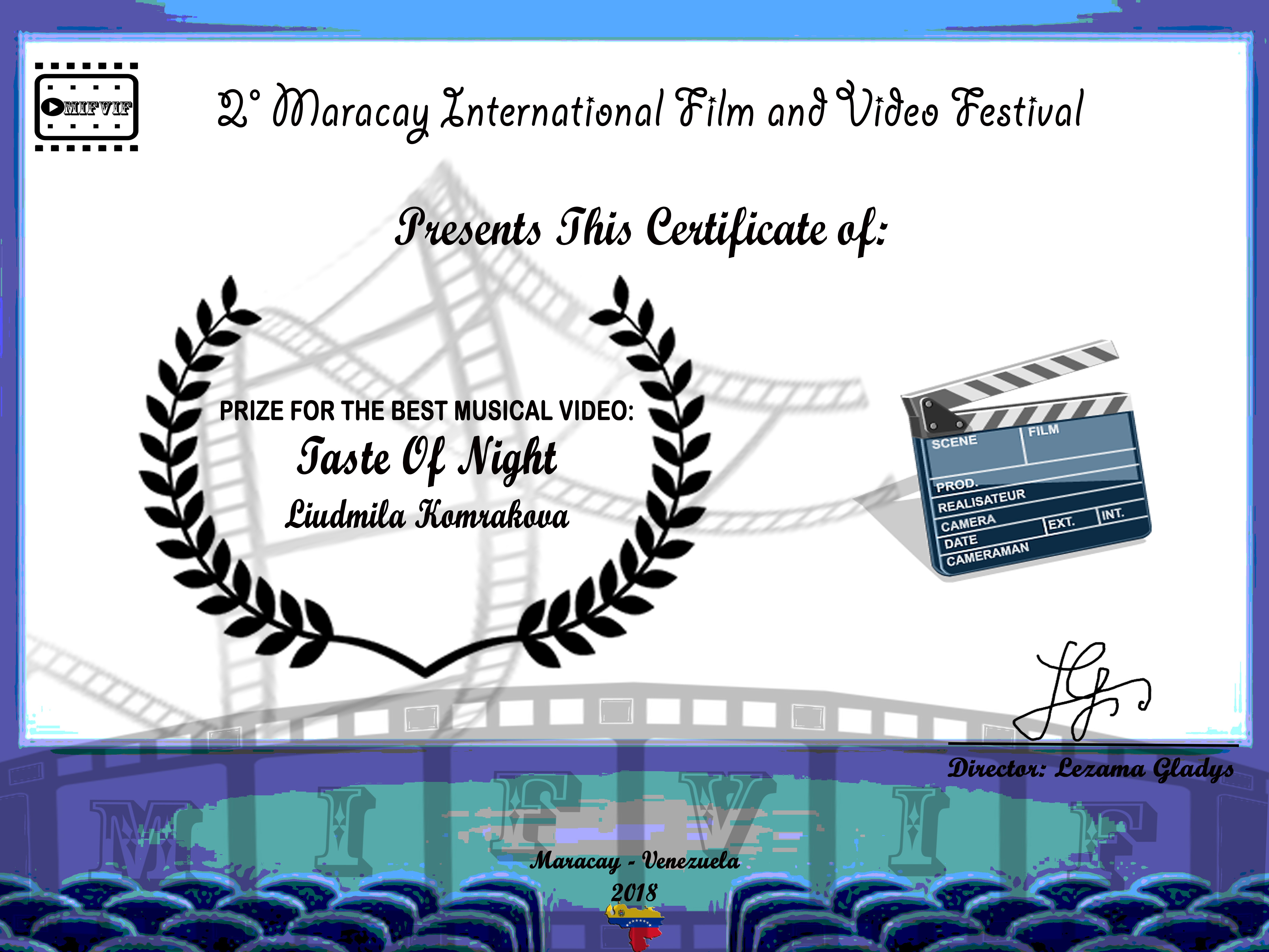 PRIZE FOR THE BEST MUSICAL VIDEO Taste O