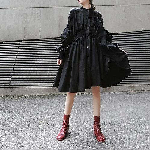 The Pleated Shirt Mandarin Collar Pleated Dress