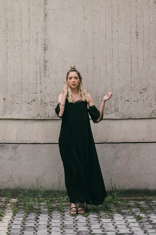 Pleated Black Dress
