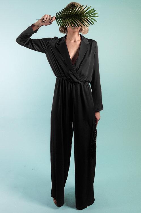The Black Silk Lapel Jumpsuit