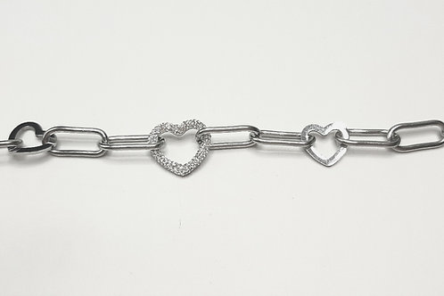 Bracciale heart in acciaio