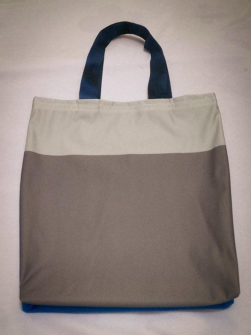 Handmade Fabric Tote Bag, Blue & Greys