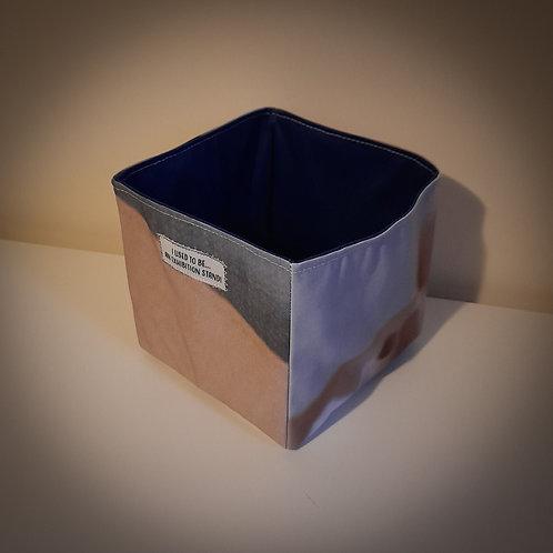 Handmade Fabric Square Box, Dark Grey & Cream / Dark Blue