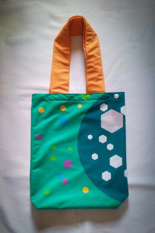 Handmade Fabric Tote Bag, Greens & Hexagons