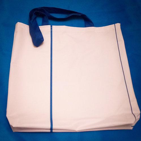 Handmade Fabric Tote Bag, White & Blue Stripe