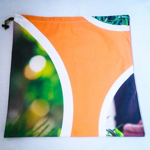 Handmade Fabric Drawstring Bag, Orange & Garden Circles