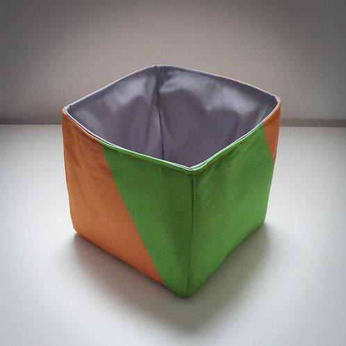 Handmade Fabric Square Box, Orange & Green / Grey