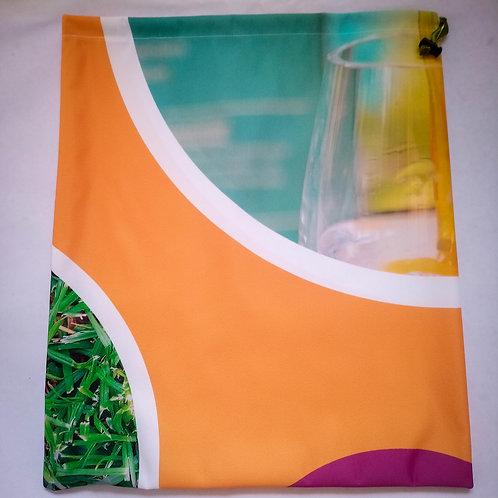 Handmade Fabric Drawstring Bag, Orange & Glass Circles