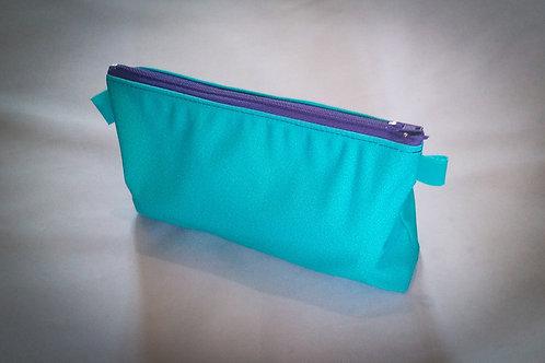 Handmade Fabric Pencil Case/Makeup Bag, Green/Purple