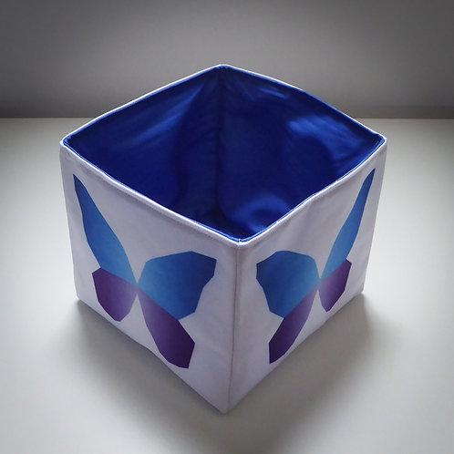 Handmade Fabric Square Box, Calluna Butterfly / Blue