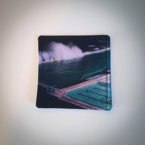 Handmade Fabric Reversible Coaster, Swimming/Blue