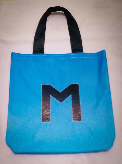 """Handmade Fabric Tote Bag, Blue with Grey """"M"""""""