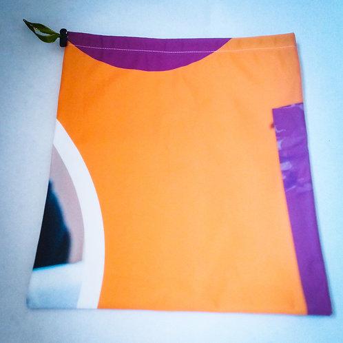 Handmade Fabric Drawstring Bag, Orange & Purple