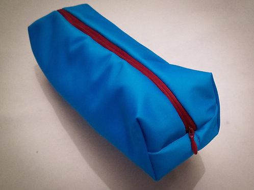 Handmade Fabric Lined Pencil Case/Make-Up Bag, Blue/Pale Blue