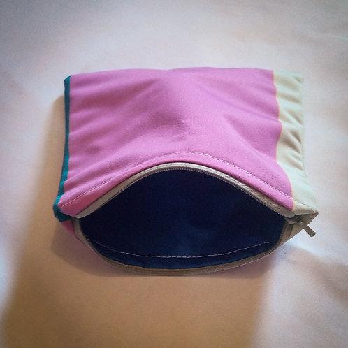 Handmade Fabric Lined Pencil Case/Make-Up Bag, Purple,Grey & Blue