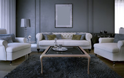 Luxury living room in art deco style. Dark gray walls. White sofa, an armchair with cushions and a w