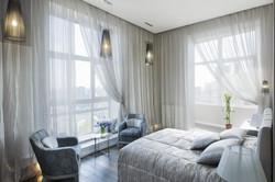 panoramic view of nice cozy bedroom