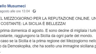 Sicilia. Musumeci: primi nel Mezzogiorno per reputazione turistica online secondo Demoskopika