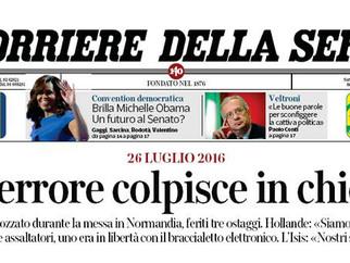 Terrorismo. La mappa di Demoskopika oggi sul Corriere della Sera